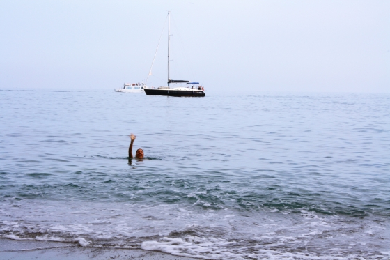Boat and Friend Waving in the Amalfi Coast